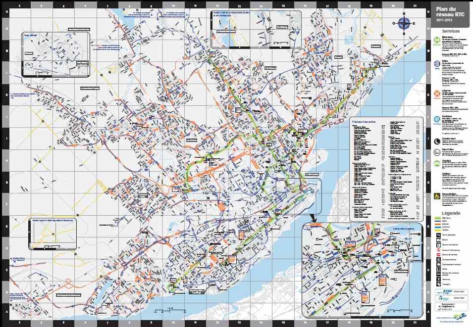 Mapa de la red de transporte de la ciudad de Quebec.
