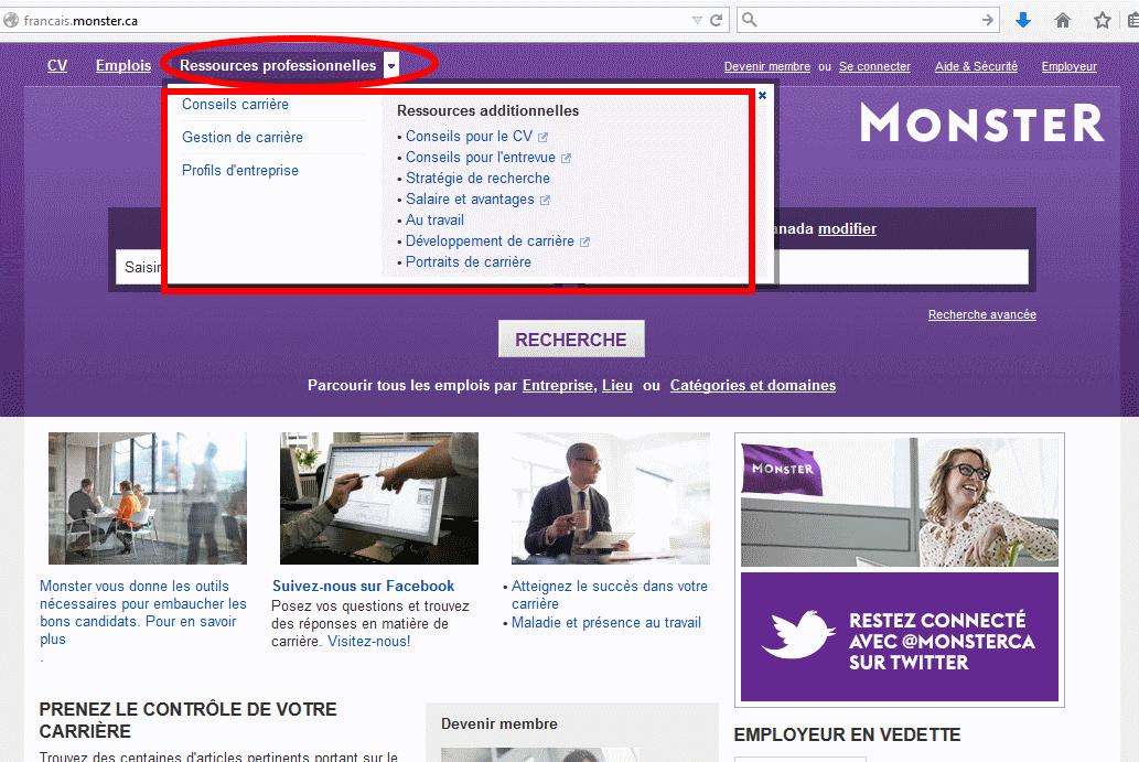 Sitio web www.monster.ca en francés. También tiene versión en inglés