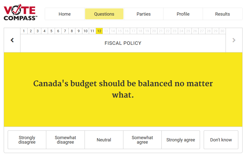 La brújula electoral nos permite ver cómo se alinean nuestras ideas y expectativas con respecto a las propuestas de cada partido. (Captura de pantalla de votecompass.cbc.ca)