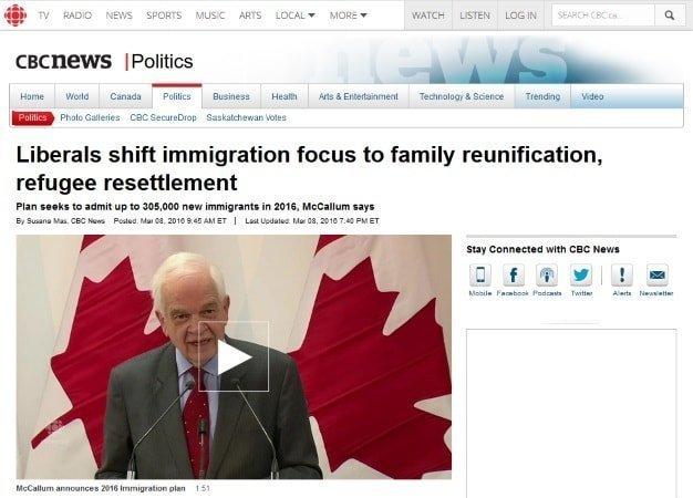 Sitio web de la CBC mostrando la noticia del plan de inmigración a Canadá