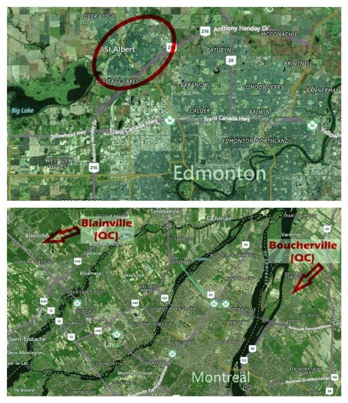 Arriba: St. Albert (Alberta). Abajo: Blainville y Boucherville (Quebec). Imágenes: Bing Maps
