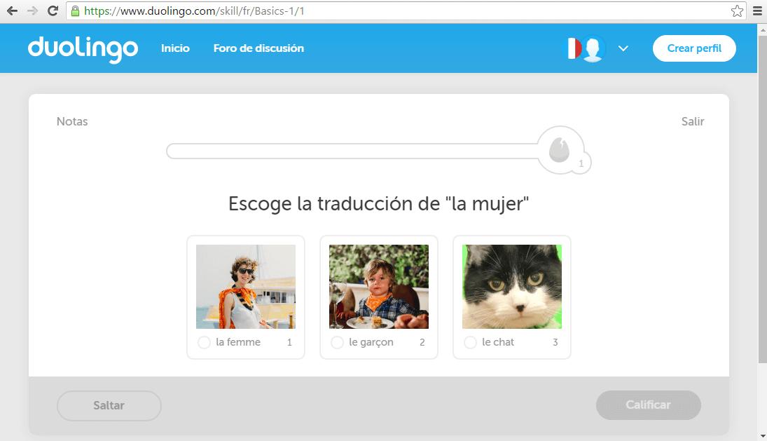 Duolingo, el primer ejercicio