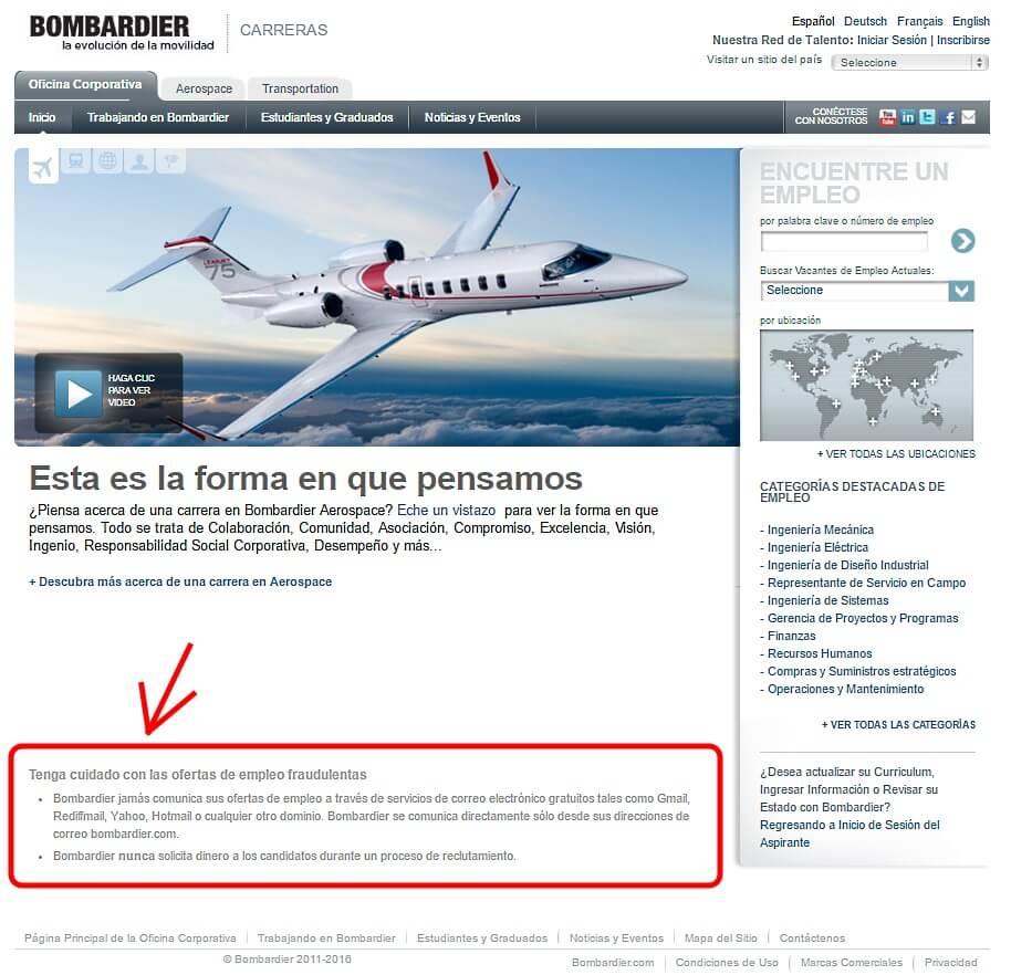 Advertencia ante los fraudes, realizada por Bombardier